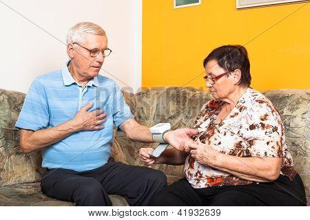 Seniors Measuring Blood Pressure