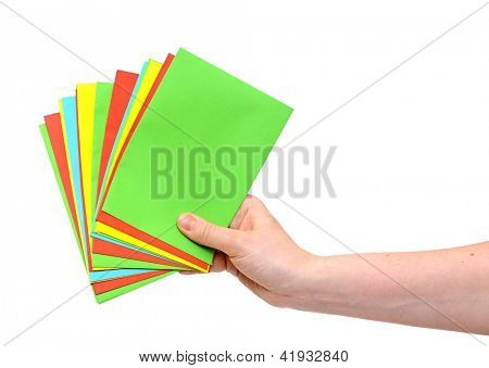 woman hand holding pile colorful envelopes isolated on white