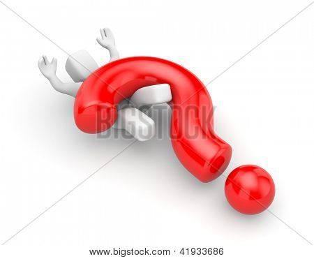 3d person with heavy red question mark