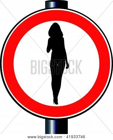 Lady Traffic Sign