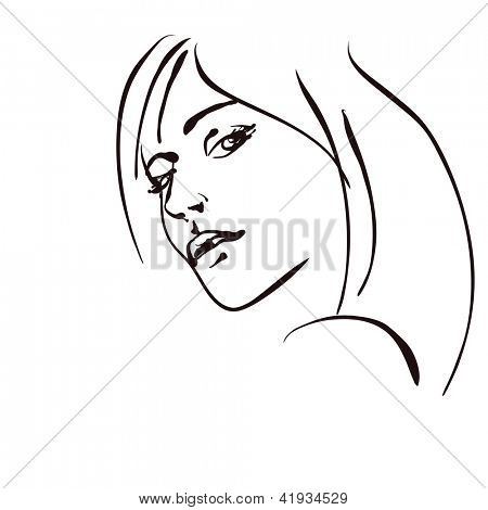 art sketching beautiful  dour girl face symbols. Vector version is also in my gallery.