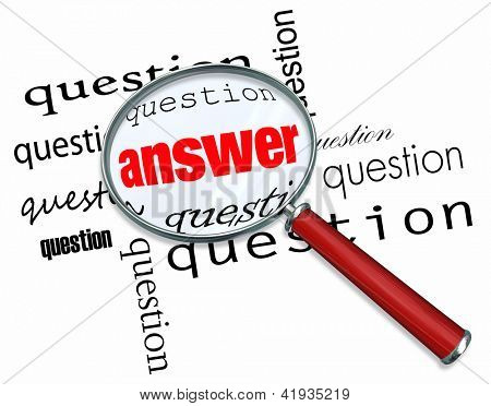 A magnifying glass hovering over many questions to find the answer