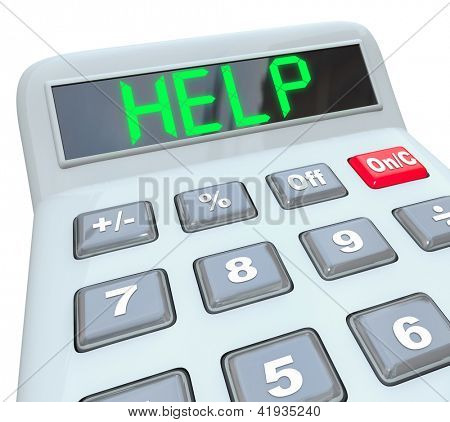 Una calculadora de plástica muestra la palabra ayuda que simboliza la necesidad de asistencia en la resolución de un finan