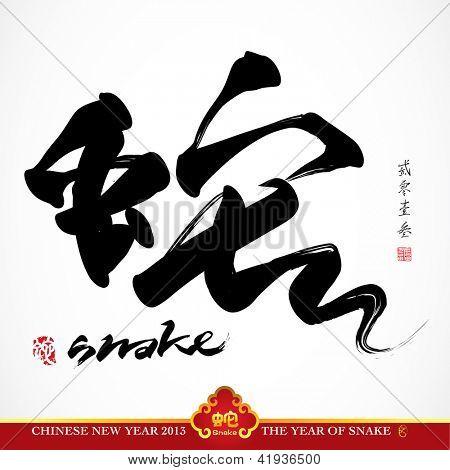 Snake Calligraphy, Chinese New Year 2013, Translation: Snake