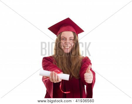 Female Student With Diploma