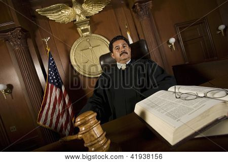 Portrait of male judge sitting with book in courtroom