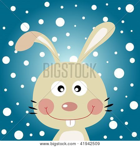 Cute rabbit with snowy background