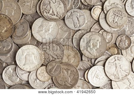 Pile Of Silver Coins