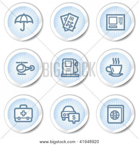 Travel web icons set 4, light blue stickers