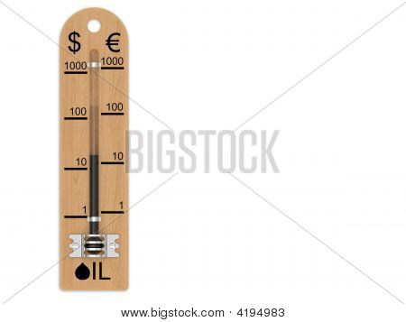 Oil Price Falling Represented As A Thermometer