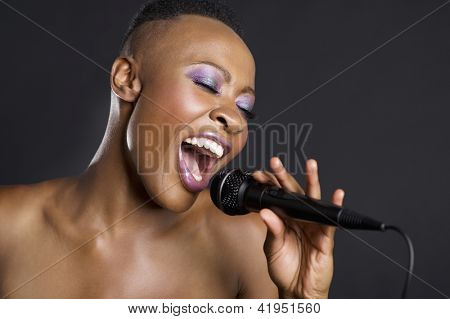Close-up of African American woman singing