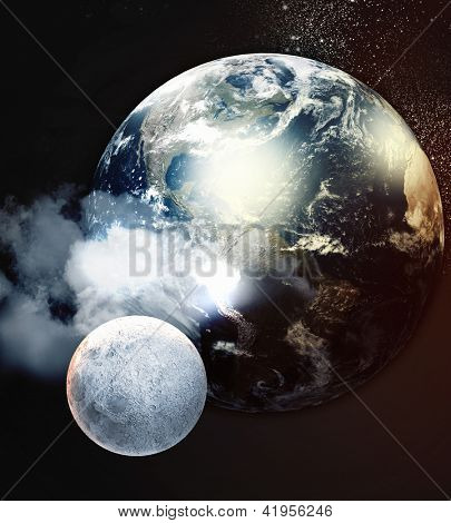 Image of planets in fantastic space against dark background.Elements of this image are furnished by NASA