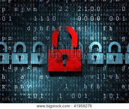 Security concept: Lock on digital screen, illustration