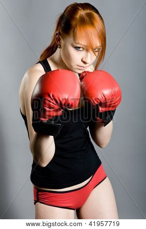 young attractive woman the boxer on training