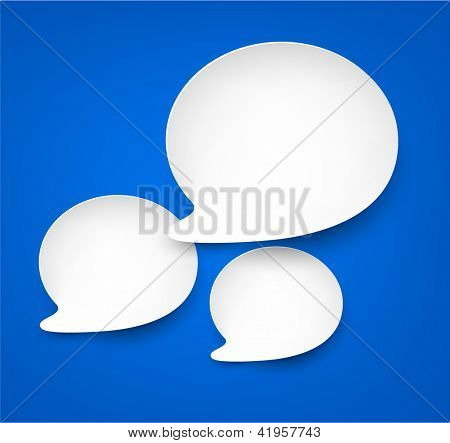 Vector abstract illustration of white paper speech bubbles on blue background. Eps10.