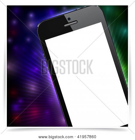 Vector illustration of abstract backgrounds with modern realistic smartphone with empty white screen. Eps10.