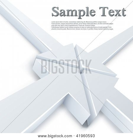 Abstract 4 white arrows meeting in one point concept. Business vector background.