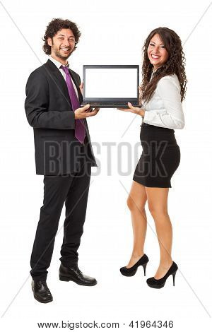 Smiling With A Laptop