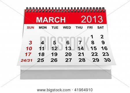 Calendário de março de 2013