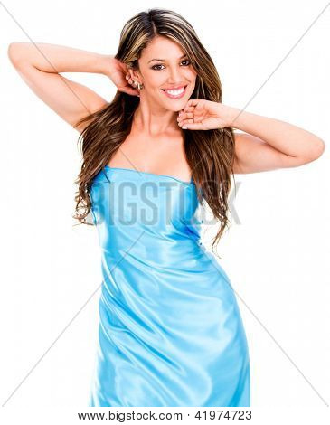 Woman in a beautiful blue dress - isolated over white
