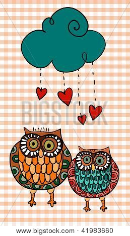 Valentine two owls under love rain
