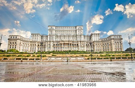 Parliament of Romania, the second largest building in the world, built by dictator Ceausescu in Bucharest. Romania.