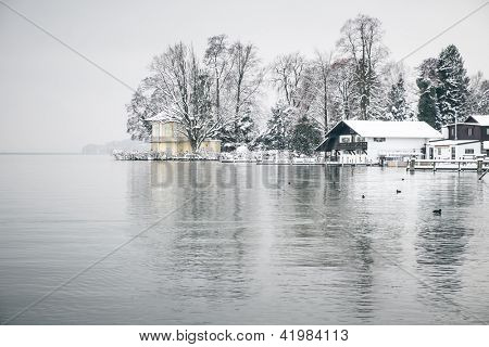 An image of the Starnberg Lake in Bavaria Germany - Tutzing - Feb. 2013