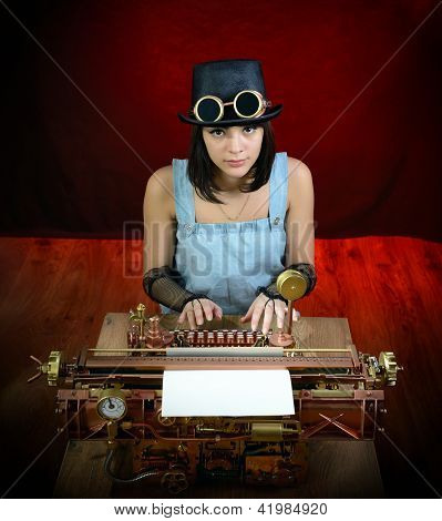 Steam Punk Girl With Typewriter.