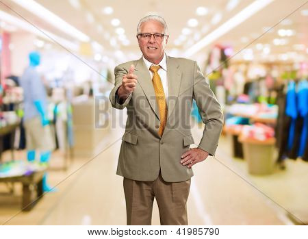 Happy Business Man Showing Thumb Up Sign, Indoors