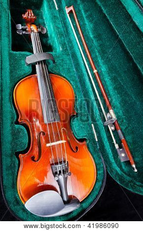 Small Violin With Bow In Green Velvet Case
