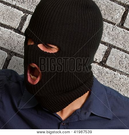 Burglar Man Shouting, Indoors