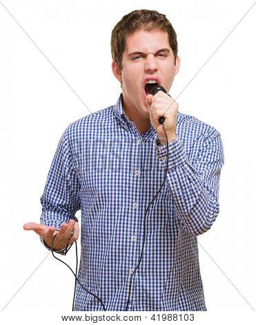 Angry Singer Singing against a white background