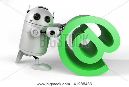 Robot With Email Sign