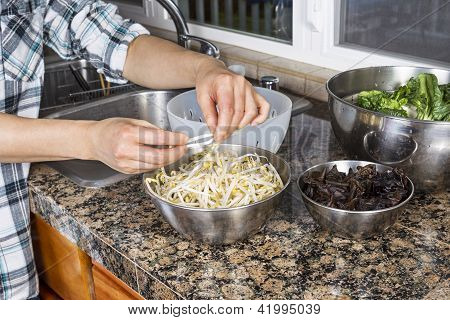 Cleaning Chinese Bean Sprouts