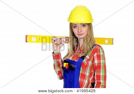 Female construction worker with level isolated on white