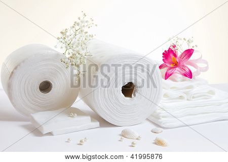 Spa Accessories: White Sheets And Towels