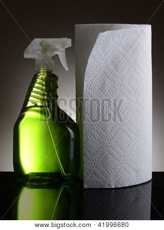 A plastic spray bottle of chemical cleaner and a roll of paper towels on a light to dark gray background. Bottle and towels reflect in the shiny black foreground.