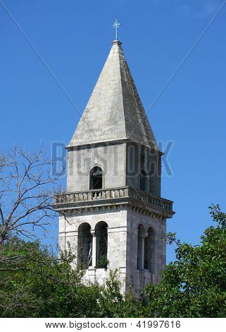 Church bell tower on island Cres, Croatia