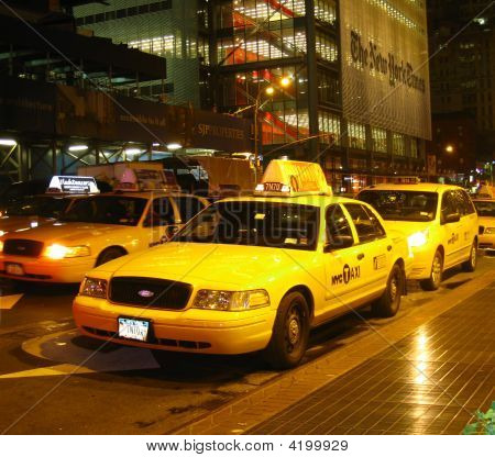Taxis Outside Ny Times Building