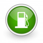 fuel green circle glossy web icon on white background