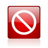 access denied red square glossy web icon on white background