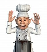 stock photo of horrifying  - A chef is horrified to discover that his sauce has boiled over and burned  - JPG