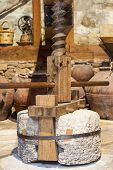 stock photo of wine-press  - Old wooden wine press was shot in Cyprus - JPG