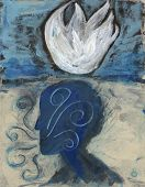 picture of pranayama  - Abstract painting of breath with White Lotus - JPG