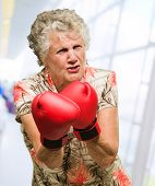 foto of boxing day  - Angry Mature Woman Wearing Boxing Gloves - JPG