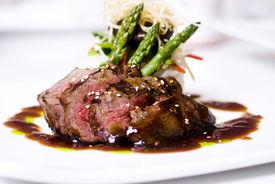 picture of gourmet food  - A gourmet fillet mignon steak at five star restaurant - JPG