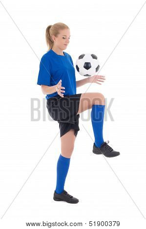 Female Soccer Player In Blue Uniform Playing With Ball Isolated On White Background