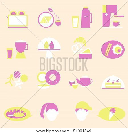 Bakery And Drinks Color Icons