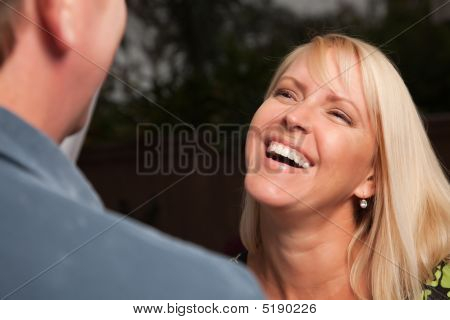 Blonde Woman Socializing With Friend