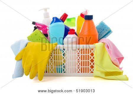 Cleaning Equipment In Basket Isolated On White Background